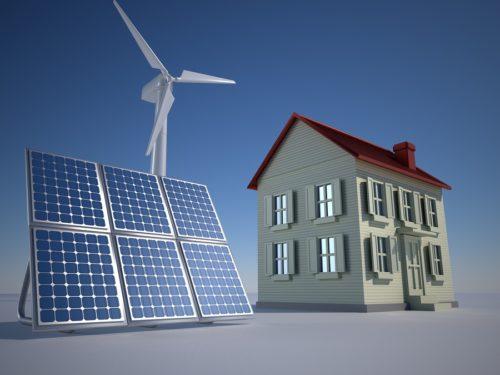 Alternative Energie: Windräder und Solaranlagen im Garten